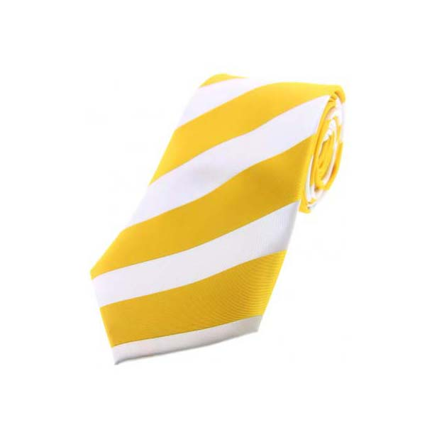 Gold and White Bold Striped Polyester Tie