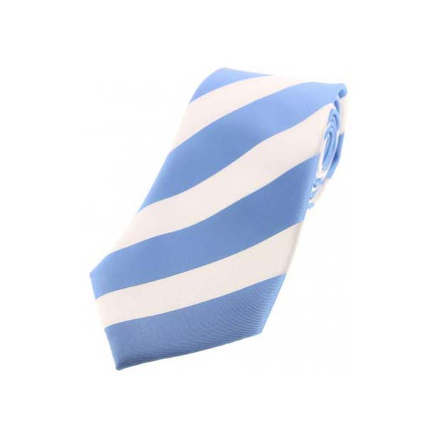 Sky Blue and White Bold Striped Polyester Tie