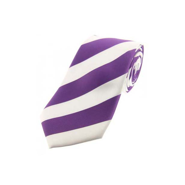 Lilac and White Bold Striped Polyester Tie