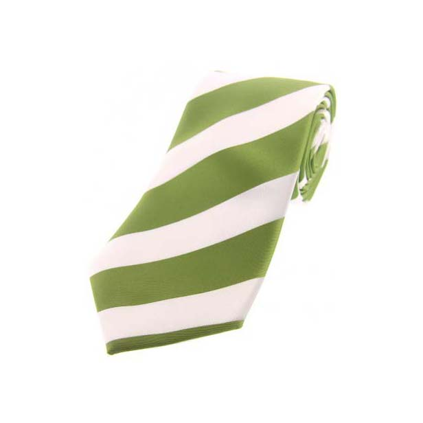 Green and White Bold Striped Polyester Tie