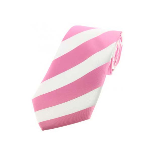 Pink and White Bold Striped Polyester Tie