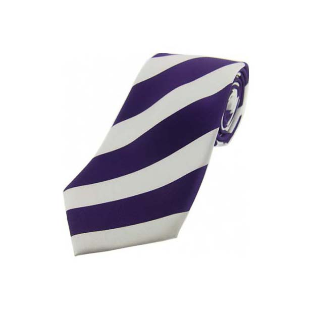 Purple and White Bold Striped Polyester Tie