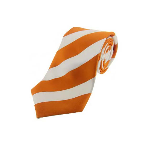 Burnt Orange and White Bold Striped Polyester Tie