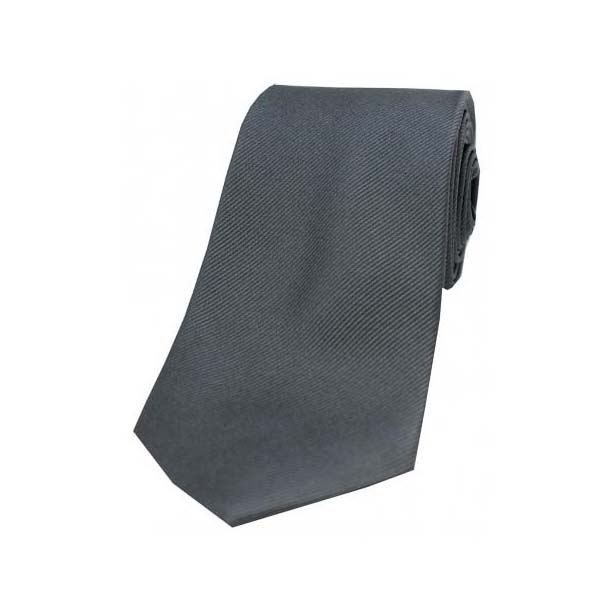 Charcoal Diagonal Ribbed Plain Silk Tie