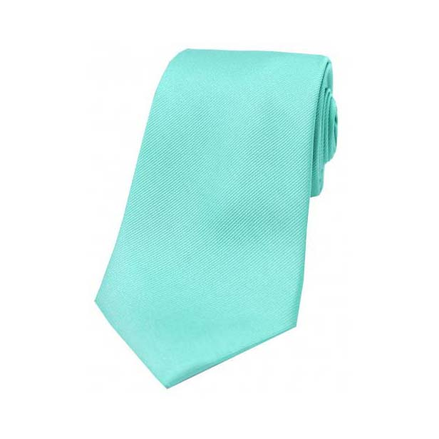 Cyan Diagonal Ribbed Plain Silk Tie