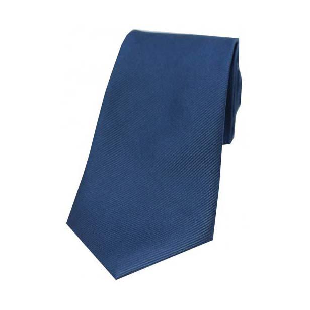 Denim Blue Diagonal Ribbed Plain Silk Tie