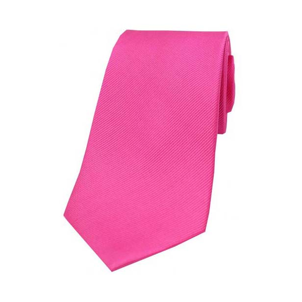 Fuchsia Diagonal Ribbed Plain Silk Tie