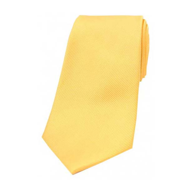 Gold Diagonal Ribbed Plain Silk Tie