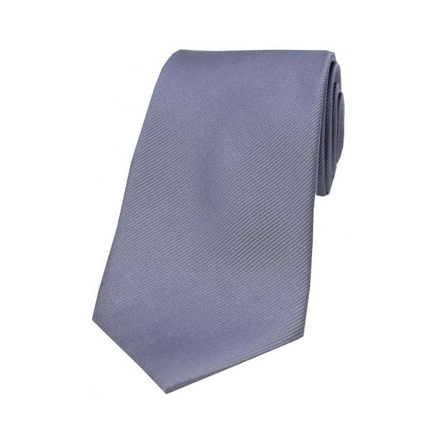 Grey Diagonal Ribbed Silk Tie