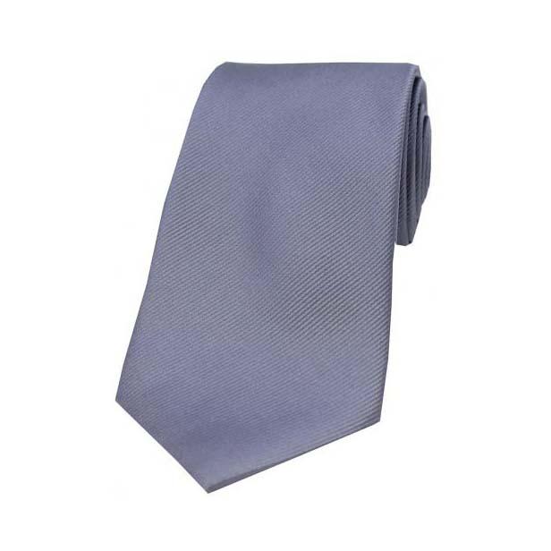 Grey Diagonal Ribbed Silk Tie
