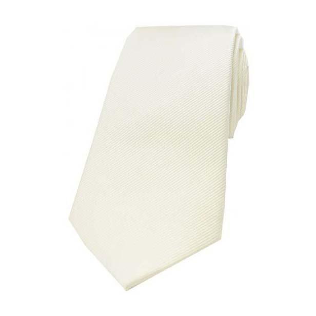 Ivory Diagonal Ribbed Plain Silk Tie
