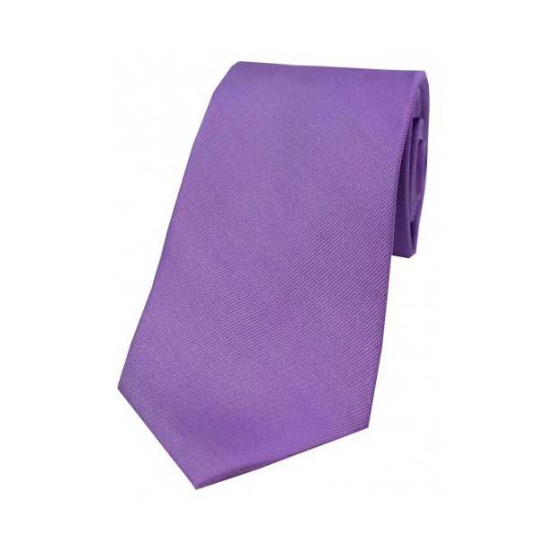 Lilac Diagonal Ribbed Plain Silk Tie
