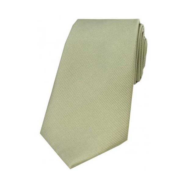 Moss Green Diagonal Ribbed Plain Silk Tie