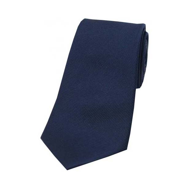 Navy Diagonal Ribbed Plain Silk Tie