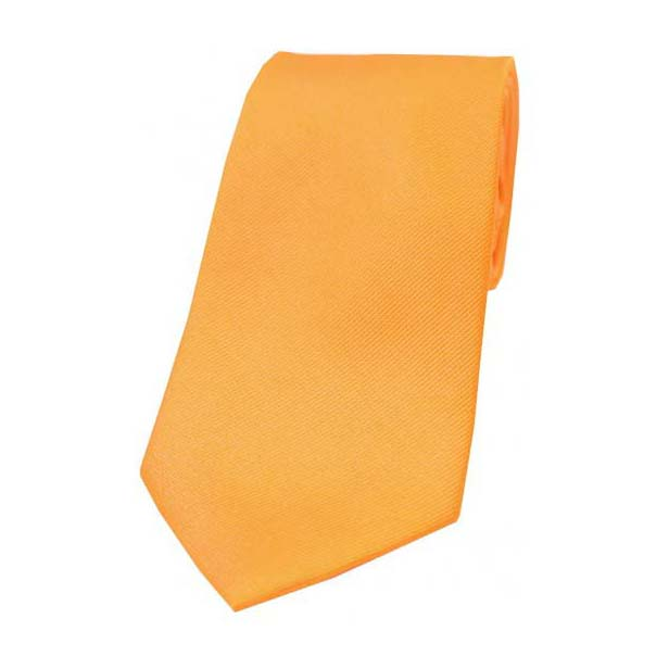 Orange Diagonal Ribbed Plain Silk Tie