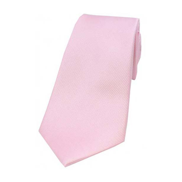 Pink Diagonal Ribbed Plain Silk Tie