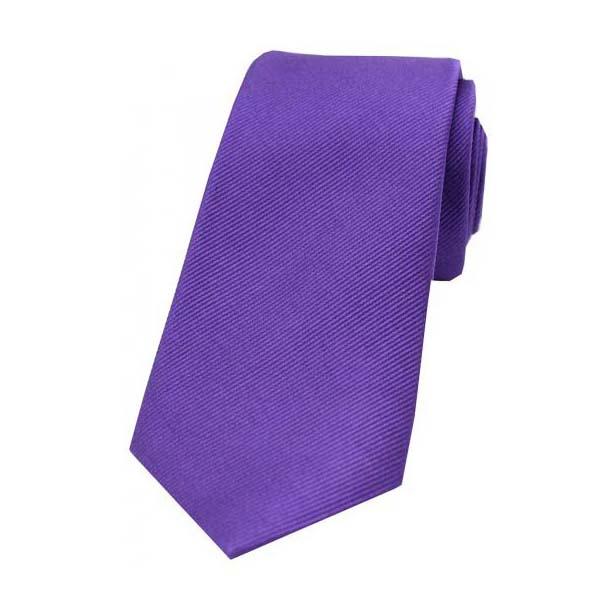 Purple Diagonal Ribbed Plain Silk Tie