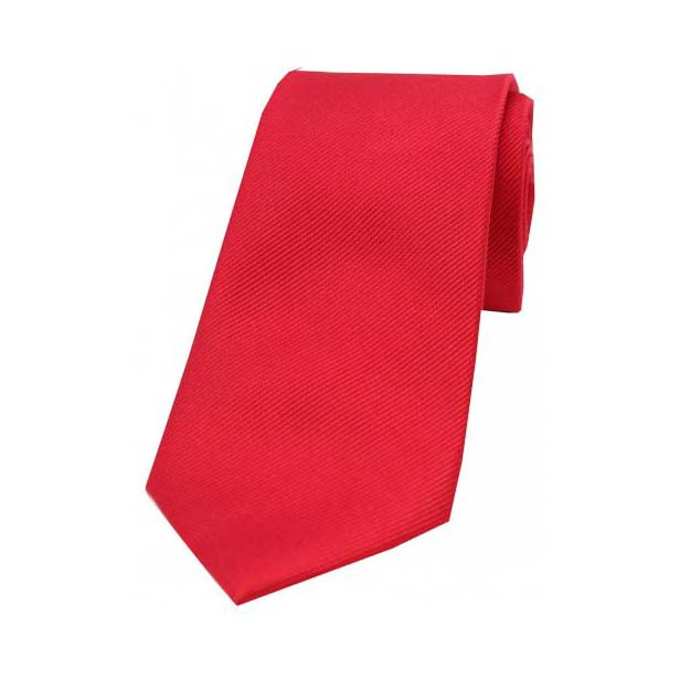 Red Diagonal Ribbed Plain Silk Tie