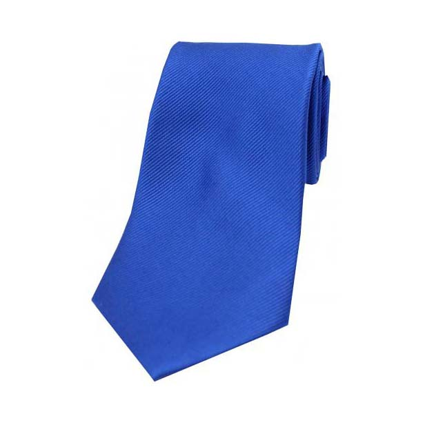 Royal Blue Diagonal Ribbed Plain Silk Tie