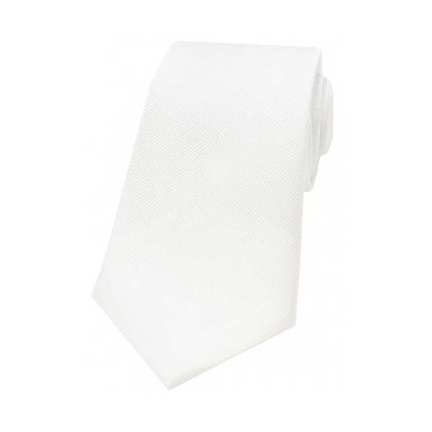 White Diagonal Ribbed Plain Silk Tie