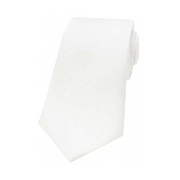 White Diagonal Ribbed Plain Silk Tie