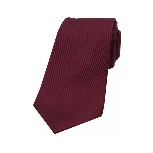 Wine Diagonal Ribbed Plain Silk Tie