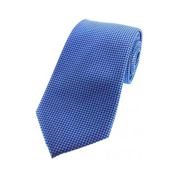 Blue Textured Woven Silk Tie