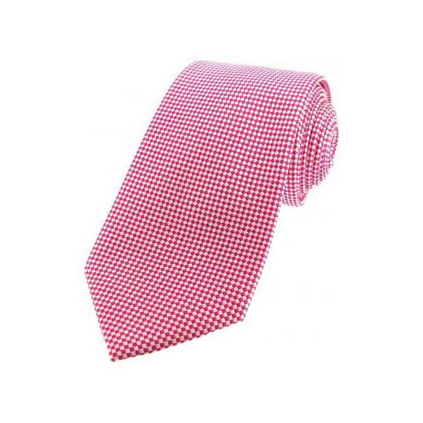 Pink Textured Woven Silk Tie