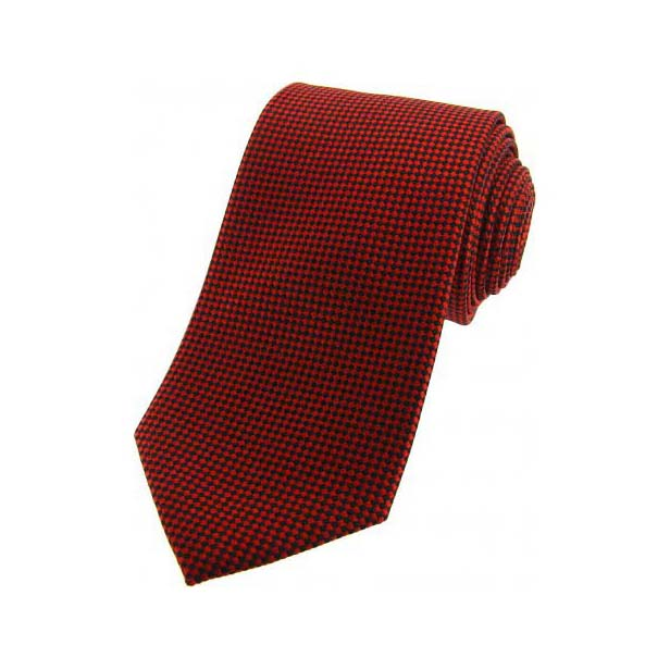 Burnt Orange and Black Textured Silk Tie