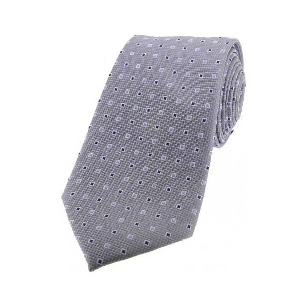 Grey Small Squares Silk Tie
