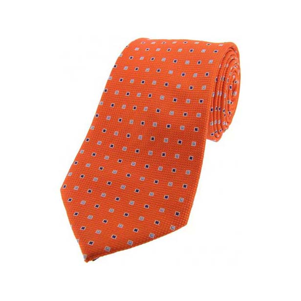 Orange Small Squares Silk Tie