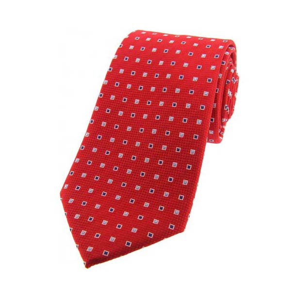 Red Small Squares Silk Tie