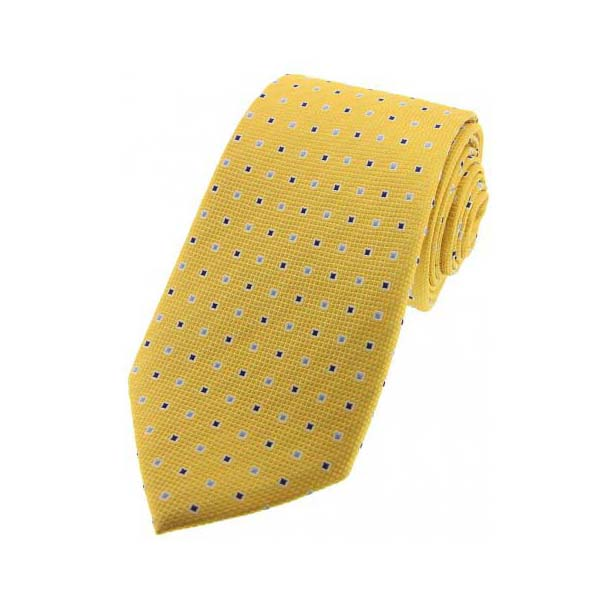 Gold Small Squares Silk Tie