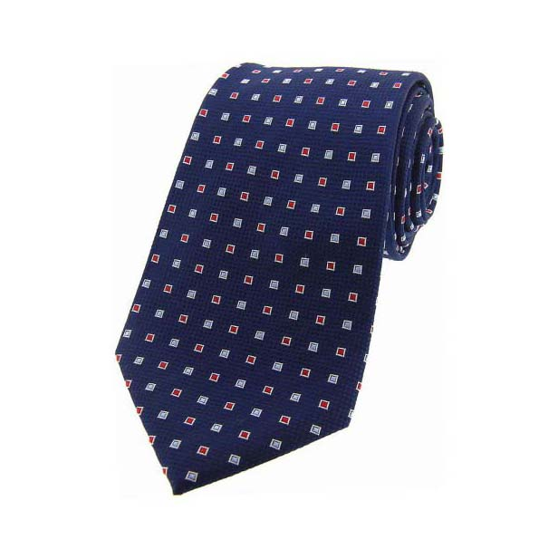 Navy Small Squares Silk Tie