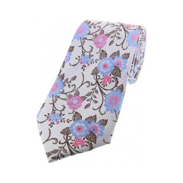 Silver with Pink and Blue Flowers Silk Tie