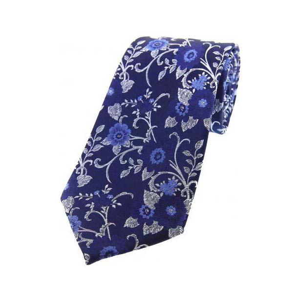Blue Flowers on a Navy Silk Tie
