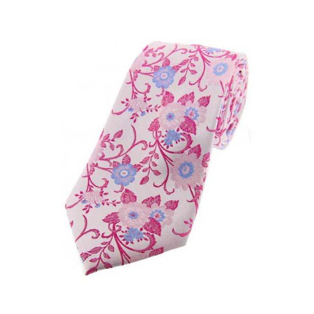 Pink Flowery Silk Tie
