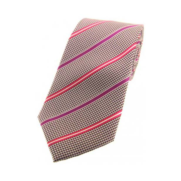 Brown Dogtooth with Pink and Lilac Stripes Silk Tie