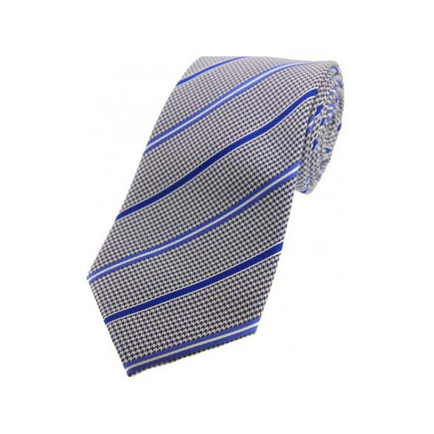 Navy Dogtooth with Royal and Blue Stripes Silk Tie