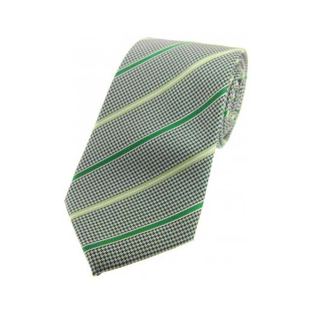 Black and White Dogtooth with Mint and Lime Stripes Silk Tie