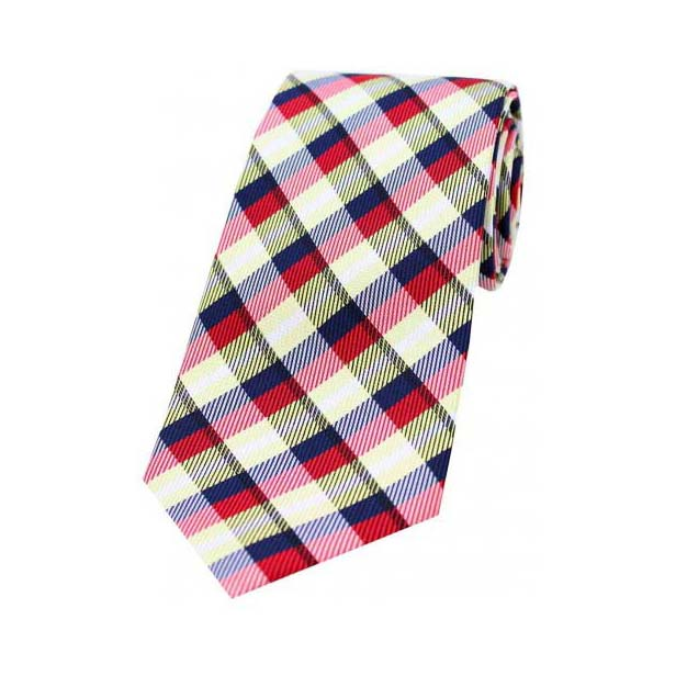 Red, Yellow and Navy Checked Silk Tie