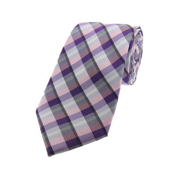 Pink, Purple and Lilac Checked Silk Tie