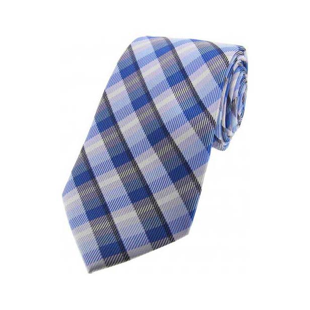 Blue and Pink Checked Silk Tie