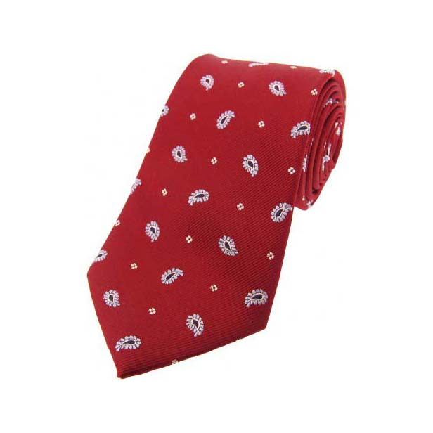 White Teardrop Feather Paisley Print on Red Silk Tie