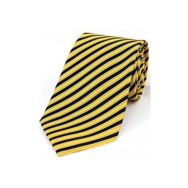 Black and Pastel Yellow Striped Silk Tie