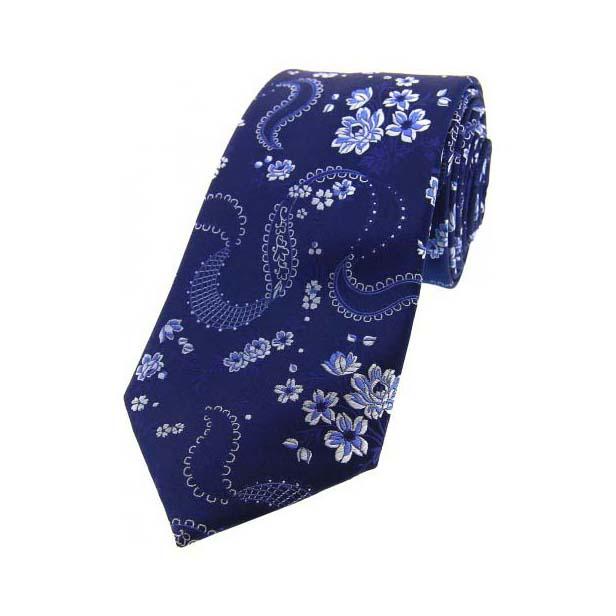 Navy With Floral Pattern Silk Tie