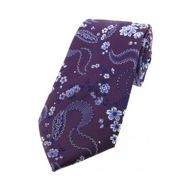 Purple Flower Patterned Silk Tie