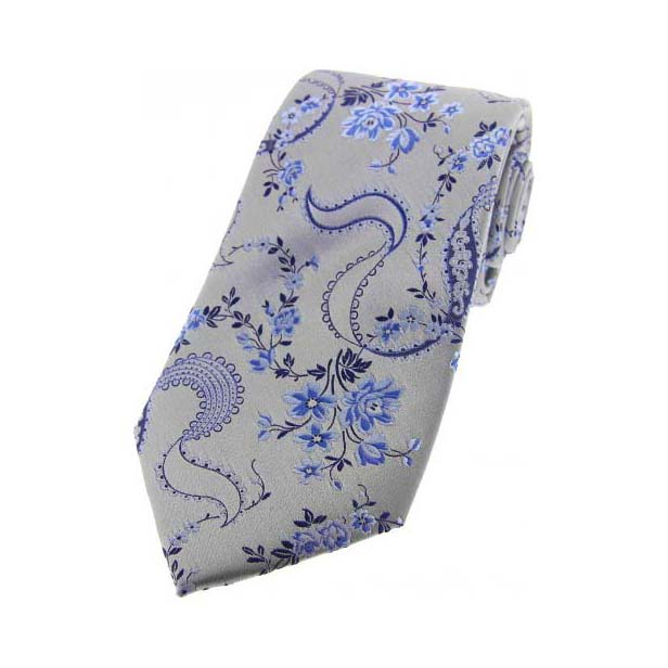 Silver Floral Patterned Silk Tie