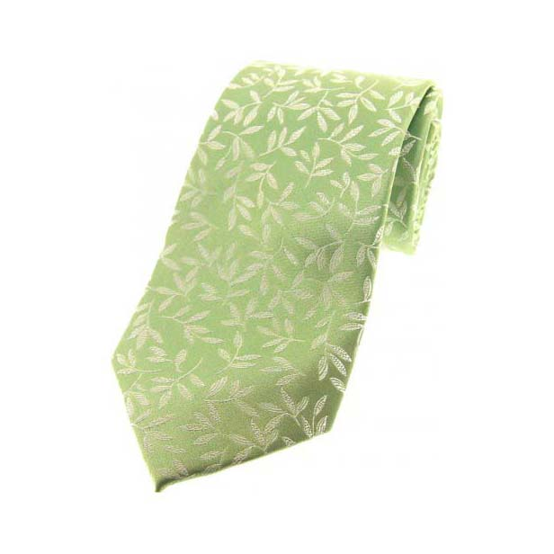 Mint Leaf Patterned Silk Tie