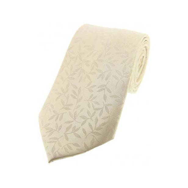 Ivory Leaf Patterned Silk Tie
